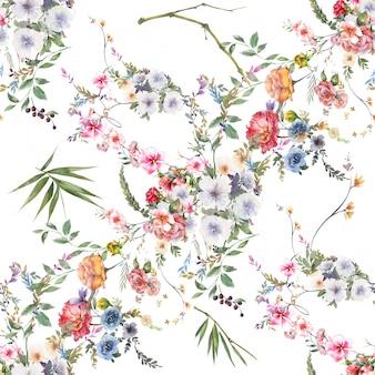 Acuarela de hojas y flores, patrones sin fisuras sobre fondo blanco.