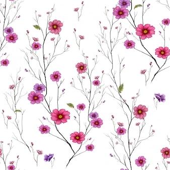 Acuarela de hojas y flores, de patrones sin fisuras sobre fondo blanco.