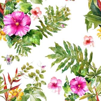 Acuarela de hojas y flores de patrones sin fisuras