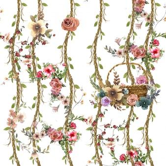 Acuarela de hojas y flores, patrones sin fisuras