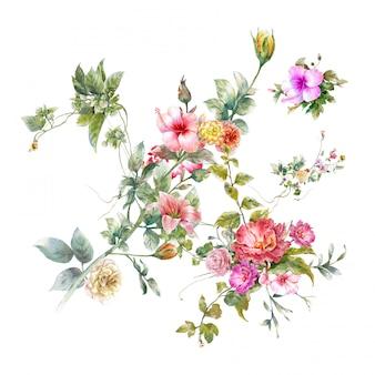 Acuarela de hojas y flores.