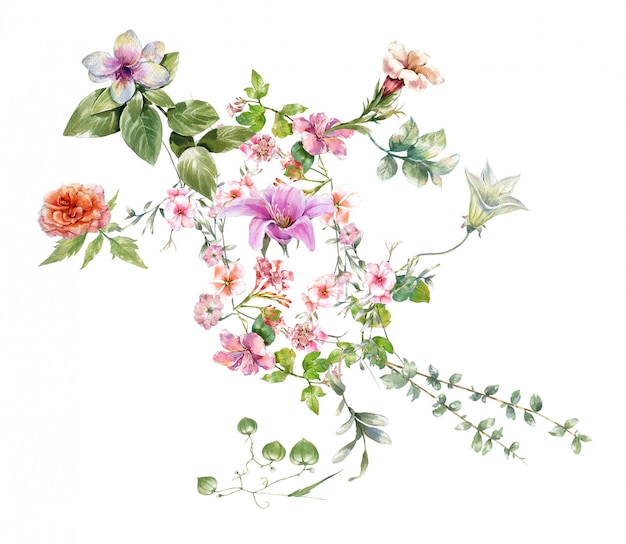 Acuarela de hojas y flores,