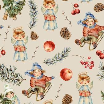 Acuarela invierno vintage de patrones sin fisuras con niños y ramas de abeto, pájaro, bayas, piñas, manzana roja