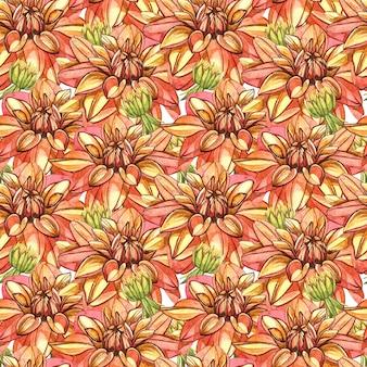 Acuarela naranja dalias de patrones sin fisuras