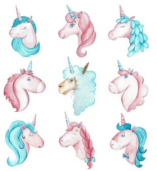 Acuarela nueve vibrantes criaturas mágicas, unicornios y alpaca.