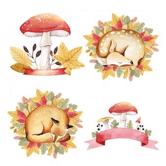 Acuarela otoño zorros bebé