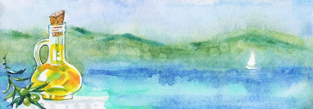 Acuarela paisaje marino con aceite de oliva.