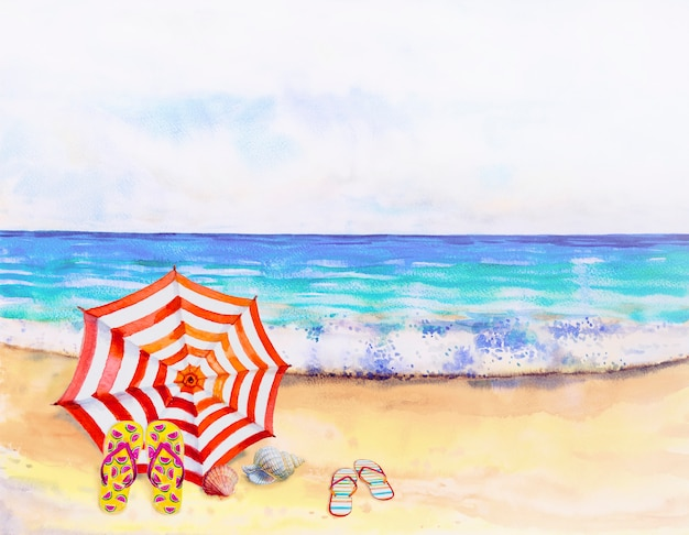 Acuarela paisaje marino pintura colorida de vista al mar.