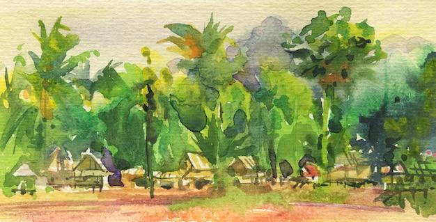 Acuarela paisaje marino tropical con bungalows. fondo natural dibujado a mano.