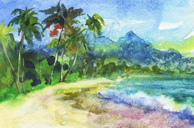 Acuarela paisaje marino tropical. dibujado a mano natural