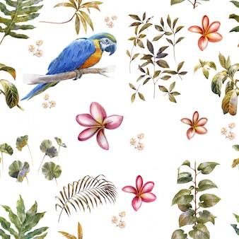 Acuarela con pájaros y flores, patrones sin fisuras sobre fondo blanco.