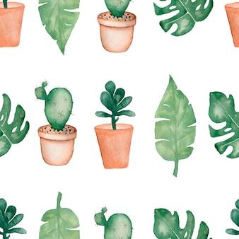 Acuarela de palmera tropical, hojas de monstera con cactus en macetas y suculentas.