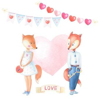Acuarela pareja de zorros con corazón rosa