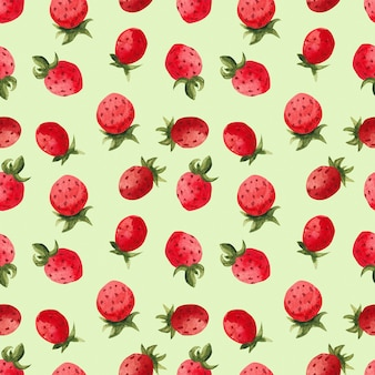 Acuarela patrón de fresa