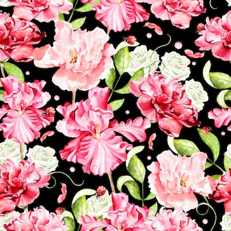 Acuarela de patrones sin fisuras brillante con flores de iris, rosa, peonía
