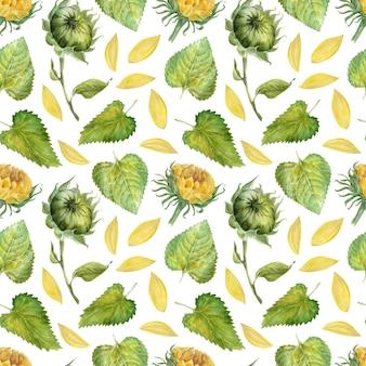 Acuarela de patrones sin fisuras con brillantes girasoles, hojas y brotes de la planta