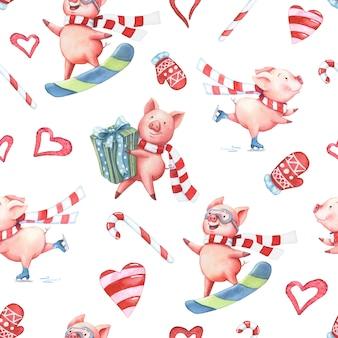 Acuarela de patrones sin fisuras con cerdos y elementos de navidad.