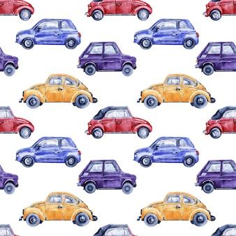 Acuarela de patrones sin fisuras con coches, señales de tráfico, mapas y semáforos