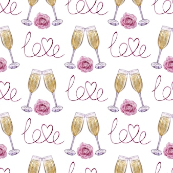 Acuarela de patrones sin fisuras de copas de champán con una rosa y la palabra amor. ilustración dibujada a mano
