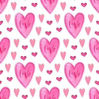 Acuarela de patrones sin fisuras con corazones de color rosa. pintado telón de fondo romántico.