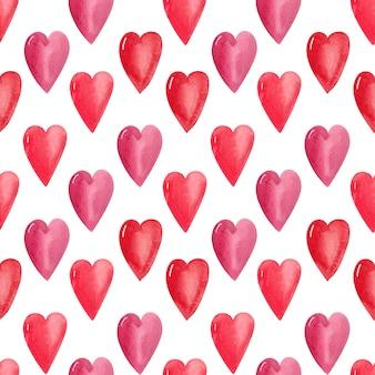 Acuarela de patrones sin fisuras corazones. fondo festivo