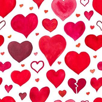 Acuarela de patrones sin fisuras con corazones.