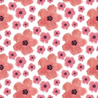 Acuarela de patrones sin fisuras con flores de amapola. se puede utilizar para envolver, textiles y diseño de paquetes