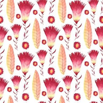 Acuarela de patrones sin fisuras con flores creativas.