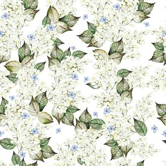 Acuarela de patrones sin fisuras con flores lilas y hojas