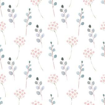 Acuarela de patrones sin fisuras con flores de primavera, brotes y ramitas con hojas