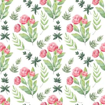 Acuarela de patrones sin fisuras flores de primavera.
