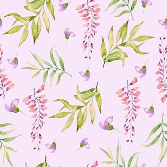 Acuarela de patrones sin fisuras de flores de verano y hojas sobre un fondo claro.