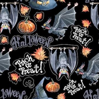 Acuarela de patrones sin fisuras de halloween con calabaza de halloween y murciélago.