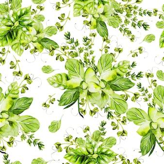 Acuarela de patrones sin fisuras con hierbas. ilustración