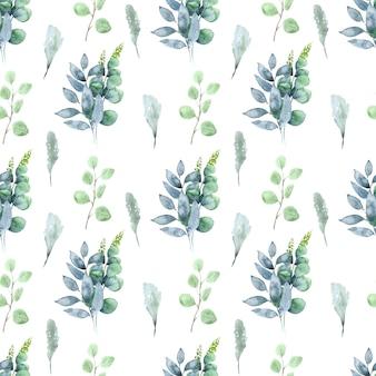Acuarela de patrones sin fisuras con hojas e inflorescencias de plantas de primavera