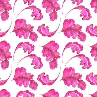 Acuarela de patrones sin fisuras de hojas rosadas y doradas con remolinos de una planta de fantasía