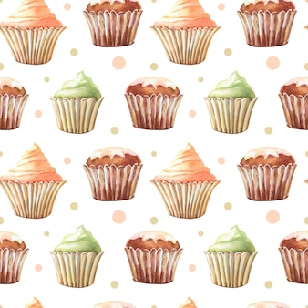 Acuarela de patrones sin fisuras con muffin, cupcakes. impresión de acuarela sobre un fondo blanco. ilustración linda.