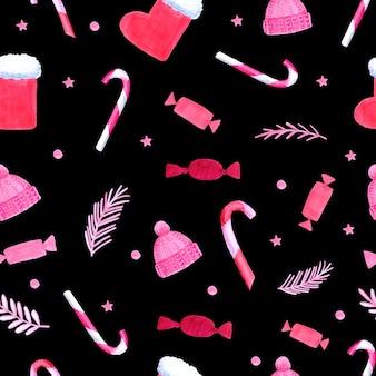 Acuarela de patrones sin fisuras de navidad y año nuevo. fondo de decoración dibujado a mano. bueno para el diseño de paquetes de navidad, papel de embalaje.