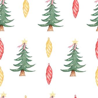 Acuarela de patrones sin fisuras de navidad