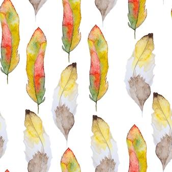 Acuarela de patrones sin fisuras con plumas