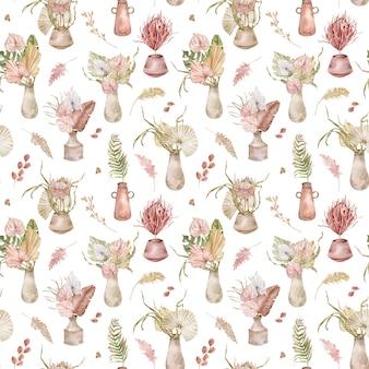Acuarela de patrones sin fisuras con ramos de flores tropicales en macetas, hojas de palmera, proteas y anturios. acuarela patrón tropical con flores exóticas.