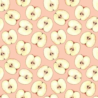 Acuarela de patrones sin fisuras con rodajas de manzana, pintura de acuarela sobre un fondo rosa.