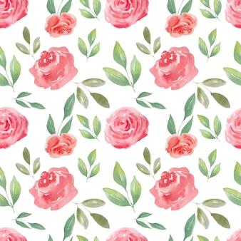 Acuarela de patrones sin fisuras de rosas de aire y corazones. fondo festivo