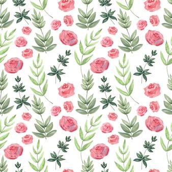 Acuarela de patrones sin fisuras de rosas de aire. fondo festivo
