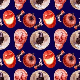 Acuarela de patrones sin fisuras sobre el tema de la fiesta de halloween. personajes característicos y atributos