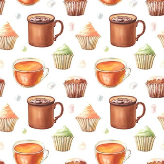 Acuarela de patrones sin fisuras con taza de cacao, muffin, cupcakes, taza de té, dulces, malvavisco.