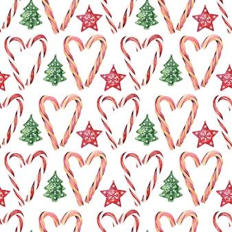 Acuarela de patrones sin fisuras con varios atributos festivos de las vacaciones de año nuevo
