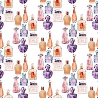 Acuarela de patrones sin fisuras con varios frascos de perfume y cosméticos