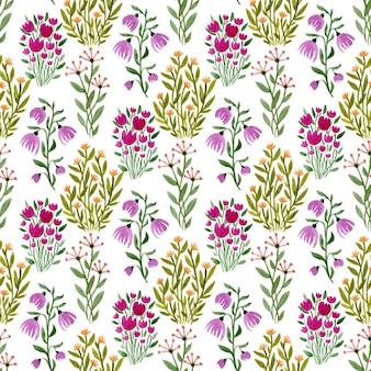 Acuarela de patrones florales sin fisuras.