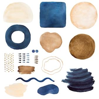Acuarela pintada de azul oscuro y beige elementos abstractos. dibujado a mano ilustración de conjunto de impresión moderna